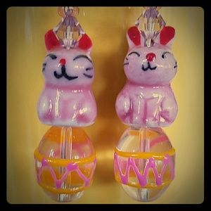 PORCELAIN BUNNIES HANDCRAFTED GLASS LAMPWORK EGGS